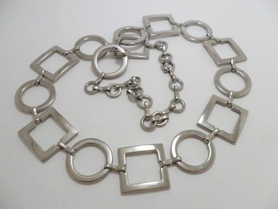 Vintage Chain Belt Silver Tone Metal Circles and Squares Art Deco Retro 1980s