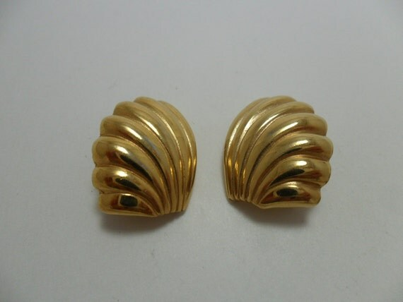 Vintage Earrings Signed Givenchy Gold Tone Metal Fans Art Deco Retro Clip On 1980s