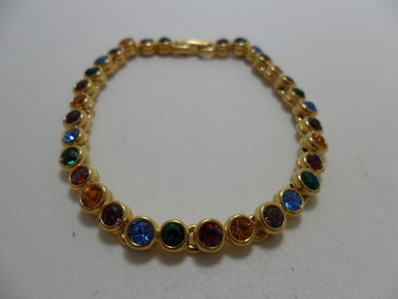 Vintage Bracelet Glass Multi Colored Rhinestones Art Deco Retro 1980s