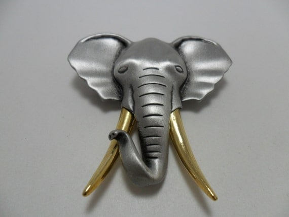 Vintage Brooch / Pin Signed JJ Silver Tone Metal Elephant with Gold Tusks Art Deco Retro 1980s