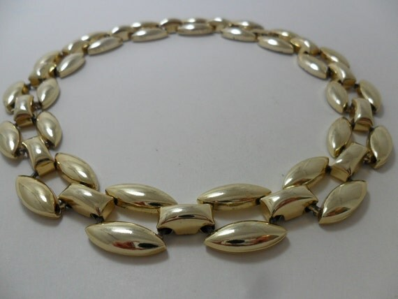 Vintage Necklace / Collar / Choker Gold Tone Metal Chunky Links Art Deco Retro Statement Jewelry Statement Necklace 1980s
