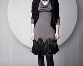 Long Grey Dress, Charcoal Dress, Cotton Robe, Long Sleeves, Feminine Knee Length, Cotton And Lycra, Available In All Sizes - Special Sale