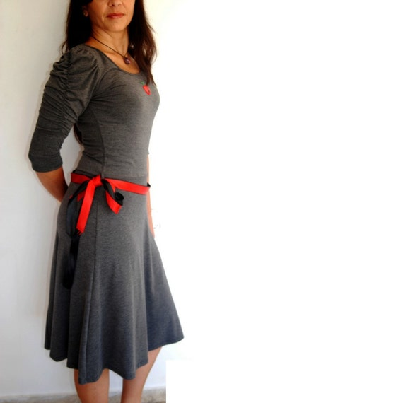 Long Grey Dress, 3/4 Long Sleeves, Charcoal Dress, Feminine Knee Length With Sexy Figure, Cotton And Lycra, Cotton Robe, Sizes Available