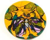 Polymer Clay Button large decorative millefiori dragonfly orange green purple ornament