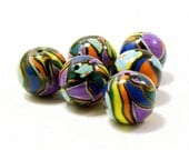 Polymer clay  beads stained glass mosaic set of six