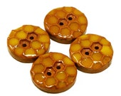Polymer clay buttons honeycomb with honey brown yellow set of four