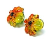 Glass shank buttons pair fire yellow orange Anemone flowers