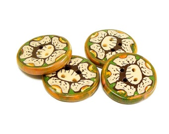 Polymer Clay Buttons flower green creme brown millefiori set of four