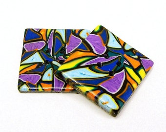 Two polymer clay large square mosaic buttons