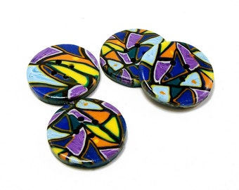 Polymer clay buttons multicolored kaleidoscope mosaic set of four