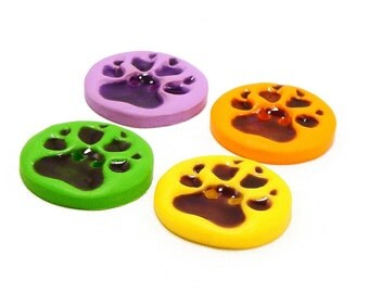 Polymer clay buttons neon dog paws set of four