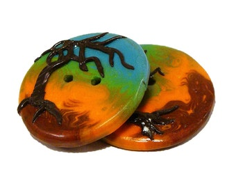 Polymer Clay Buttons large decorative tropical island appliquéd azure brown orange set of two
