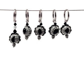 Halloween knitting stitch markers - black and white spider eye of polymer clay set of five