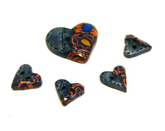 Polymer clay buttons heart shaped worn 501 jeans imitations hippie sixties set of five