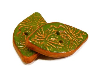 Polymer clay buttons carved nephrite jade imitation with floral motifs set of two