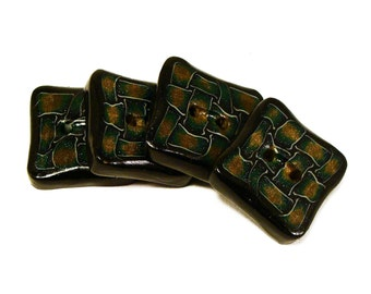 Polymer clay buttons square geometric black green and golden ornament set of four