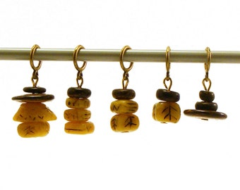 Knitting stitch markers no snag - amber imitation totems of polymer clay