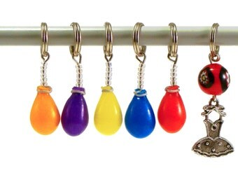 Knitting stitch markers handmade childhood favorites colorful balloons set of six