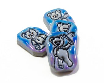 Polymer clay square buttons - teddy bears set of four