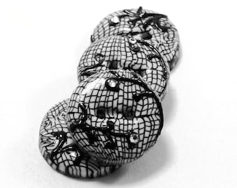 Polymer clay buttons black & white lace with swarovski haute couture series set of four