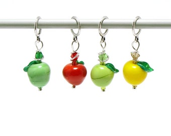 Knitting stitch markers no snag - lampwork apples colorful set of four