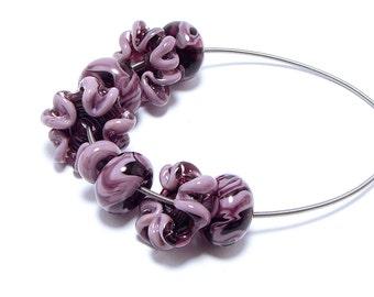 Lampwork beads set plum/pink flower shaped