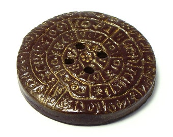 Polymer clay button brown Phaistos Disk large decorative