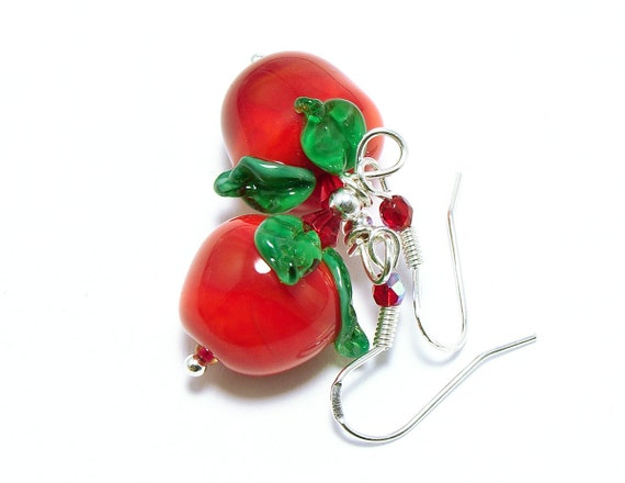 Lampwork earrings red apples on sterling silver hooks