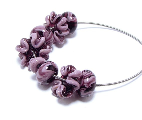 Lampwork beads set plum/pink flower shaped