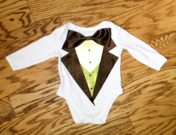 ALREADY MADE Boys Brown Tuxedo George Onesie with Faux Light Yellow Shirt/Yellow Green Plaid Vest 3-6M Longsleeve Wedding