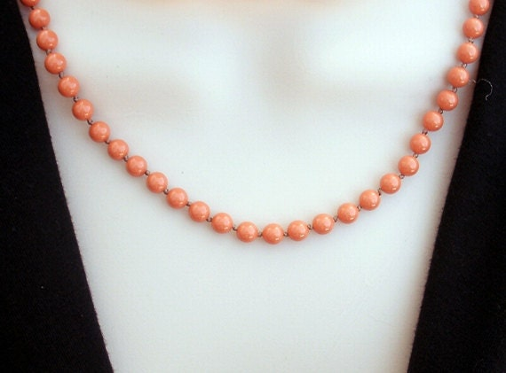 19 inch coral red necklace, hand knotted Swarovski faux coral pearls