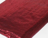 Ruby red metallic dress fabric ... lightweight, shiny with slub texture ... for dressmaking and craft projects