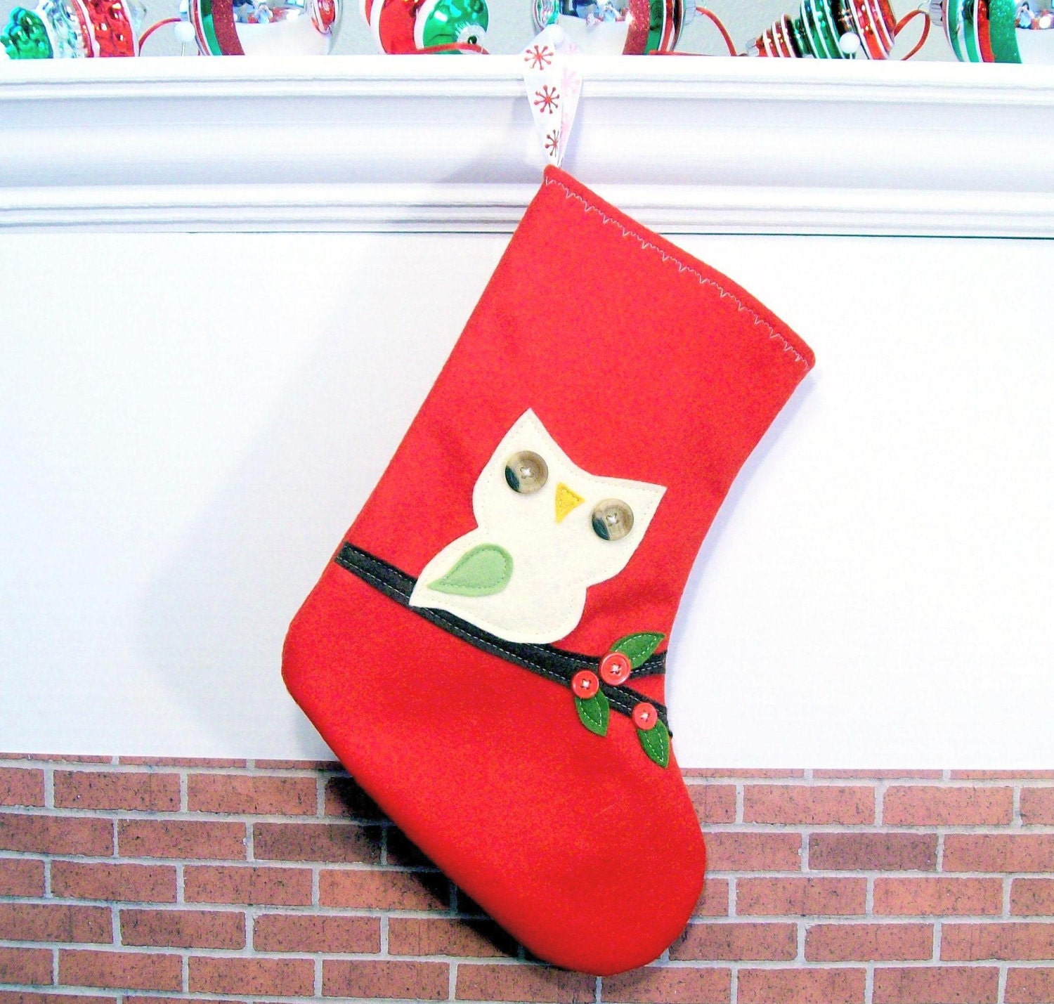 Cute Retro Owl Wool Christmas Stocking Red