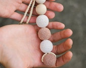 All Natural Baby Toy - Wooden Teether with crocheted beads - neutral beige and white