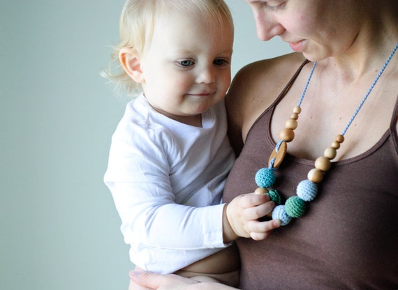 SALE Organic Cotton Nursing Necklace / Teething Necklace for Mom to Wear - teal green, dark green and light blue with oak wood button