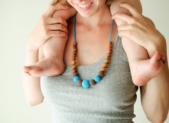 Turquoise & Chocolate Brown Nursing Necklace - Apple Wood