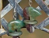 Amethyst & Agate Zuni Bear Earrings