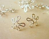 Silver Flower Earrings - Small Silver Flower Post Earrings
