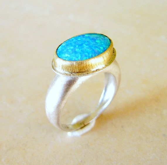 Blue Opal Ring - Blue Opal in14k Gold Setting on a Silver Ring