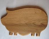 Handmade Portly  (or Porky, perhaps) Pig Oak Cutting Board
