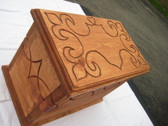 Beautiful Hand-Carved Wooden - or Treasure - Box
