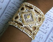 Wedding jewelry. Bridal Cuff bracelet in Ivory and gold. Hand embroidered.
