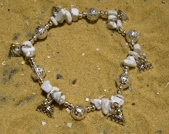 SALE CLEARANCE. Charm  Bracelet in white howlite. Egyptian Jewelry.