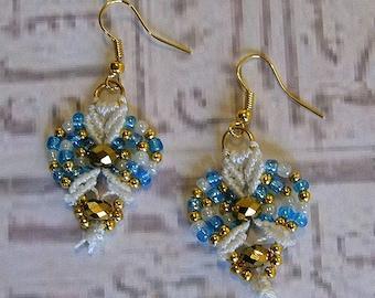 Micro Macrame earrings. Turquoise and gold macrame jewelry.