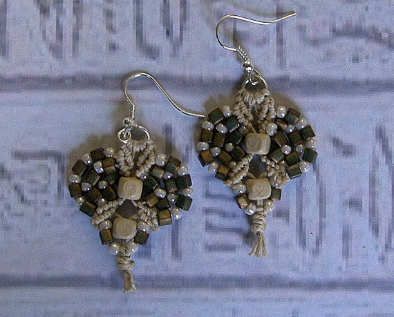 Micro macrame earrings in matte metallic Khaki and hemp.