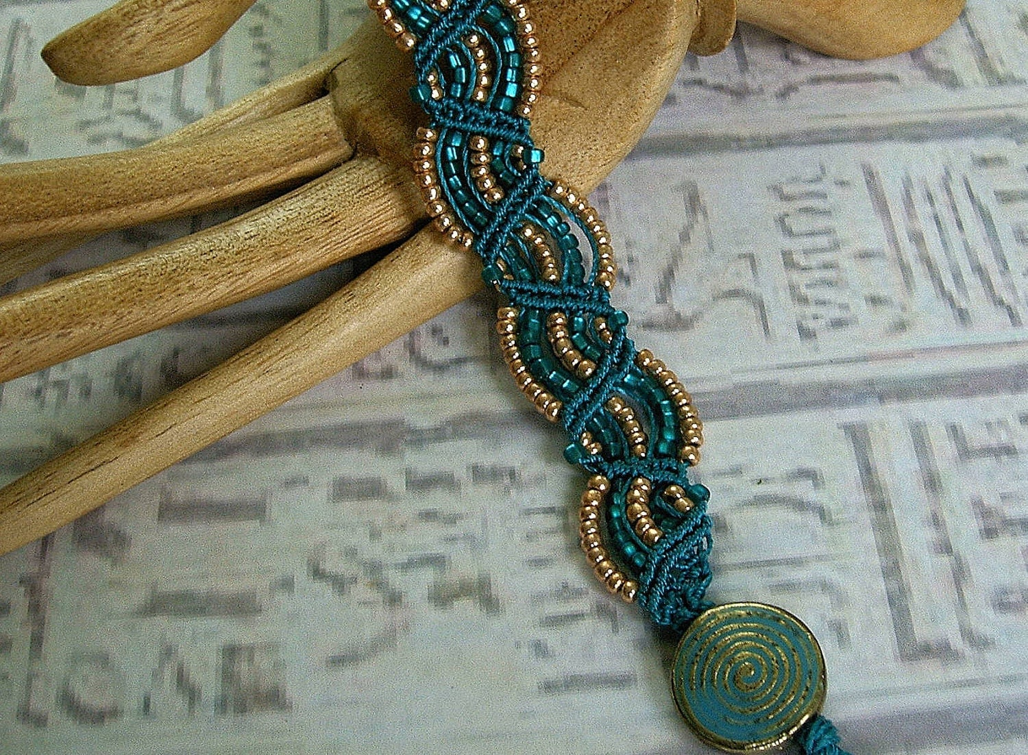 micro macrame jewellery beaded micro macrame bracelet in teal and copper 1390