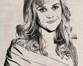 Custom Wedding Portrait Clip Art Designs Transfer Digital File Vintage Download DIY Scrapbook Shabby Chic Pillow Black Reese Witherspoon