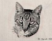 Custom Pet Cat Portrait Clip Art Designs Transfer Digital File Vintage Download DIY Scrapbook Shabby Chic Pillow Black Jewlels