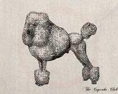 Clip Art Designs Transfer Digital File Vintage Download DIY Scrapbook Shabby Chic Pillow Black French Poodle Dog Pet No. 0294