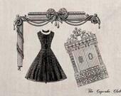 Clip Art Designs Transfer Digital File Vintage Download DIY Scrapbook Shabby Chic Victorian Dress Fashion Paris No. 0355